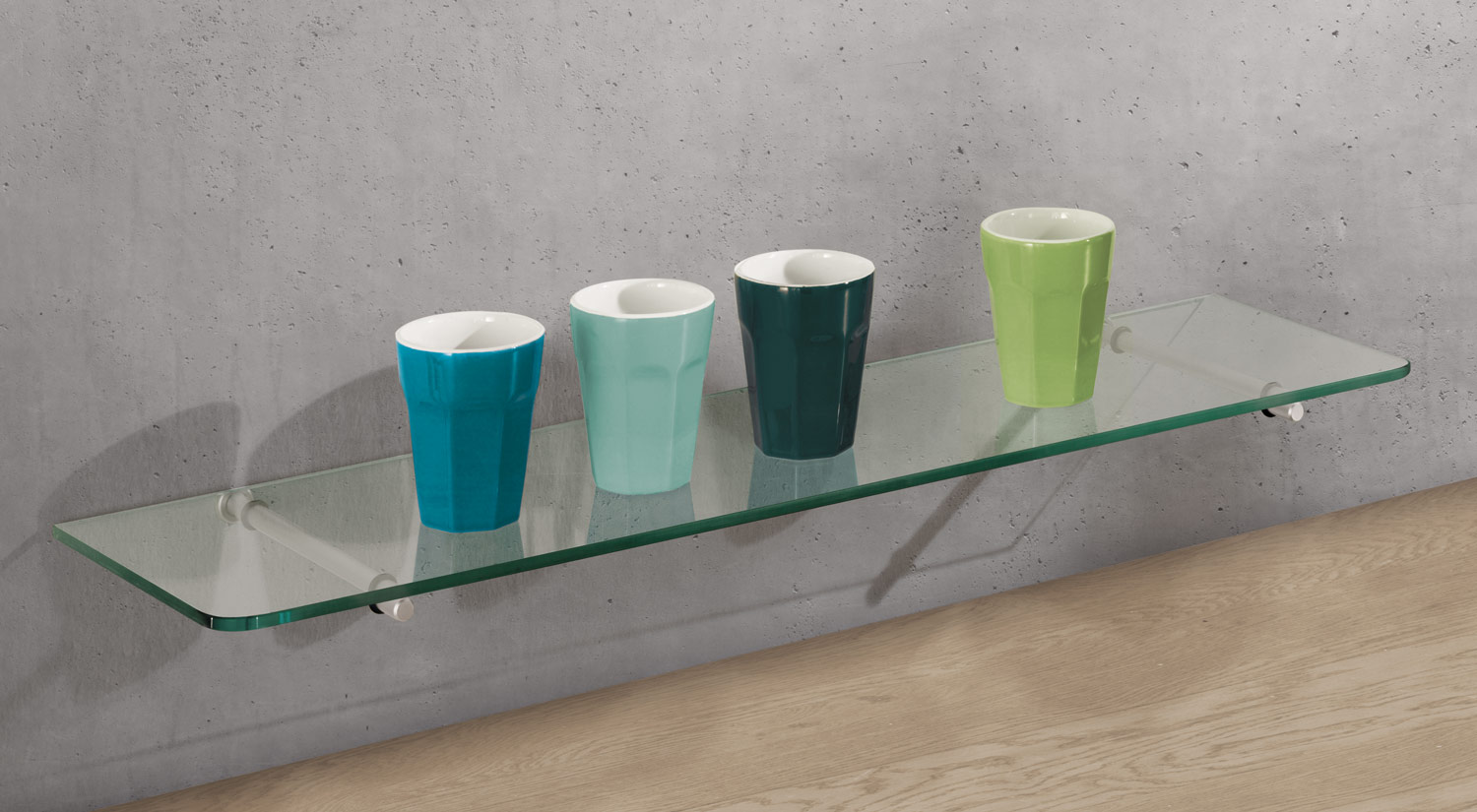 Glass shelf boards - ROUND glass shelf board with ATLAS floating shelf bracket