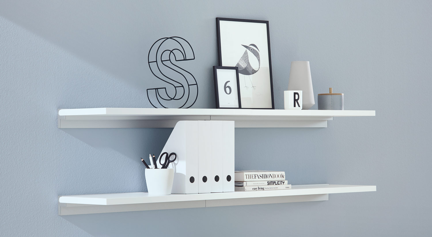 Shelf boards - SUMO white with shelf upright CUBE for the office