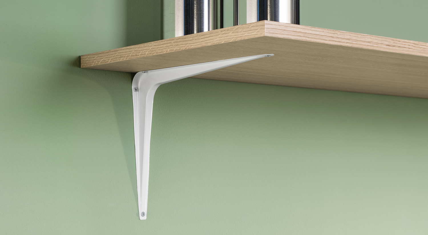 Metal Shelf Brackets - STANDARD metal white in the storage room
