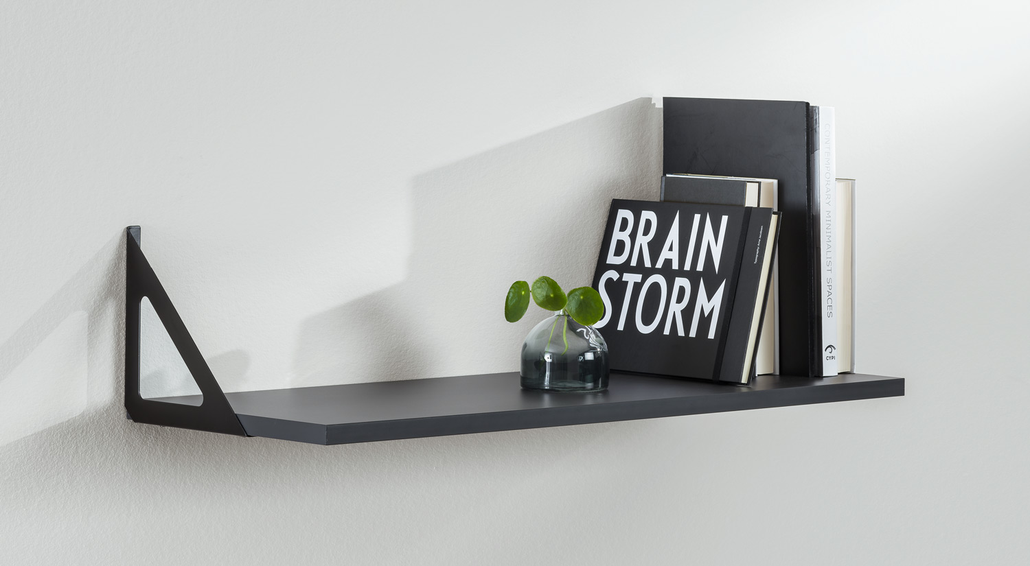 Metal Shelf Brackets - TRI metal black with shelf board in the living room