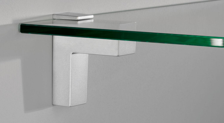 Shelf brackets - ELIOT glass shelf bracket silver with glass shelf board