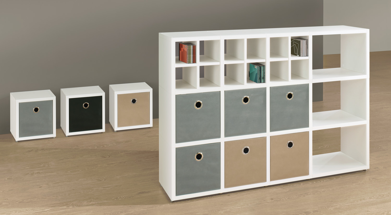 Storage box - SOFTBOX storage boxes in gray, light brown for the BOON shelving system