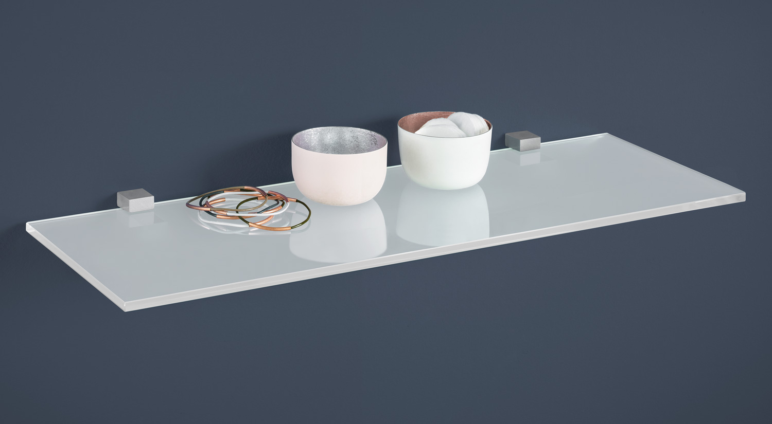 Bathroom shelf - SQUARE+CUADRO Glass Shelf white with silver brackets