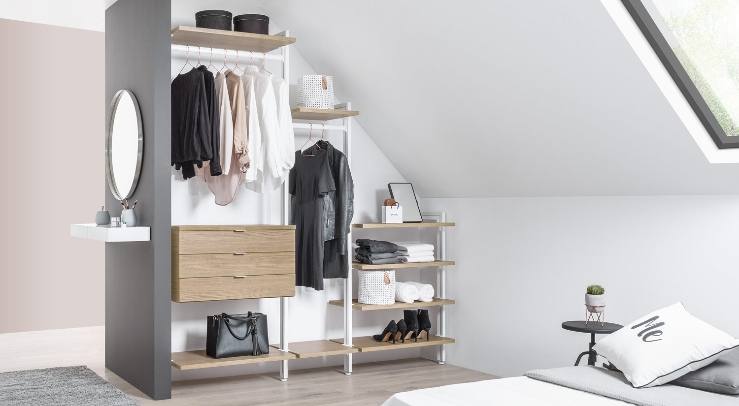 Slanted ceiling shelves - CLOS-IT shelving unit as an open wardrobe in the bedroom