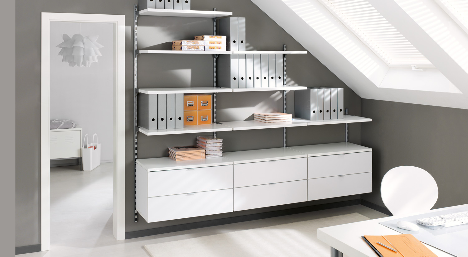 Slanted ceiling  shelves - ON-WALL shelving unit for the office