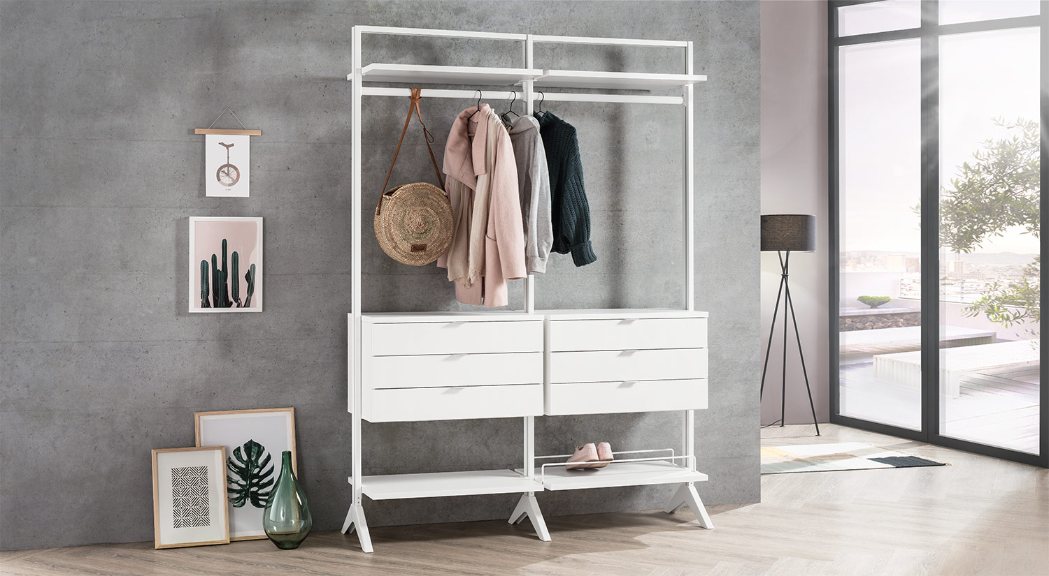 Clothes rack - CLOS-IT clothes storage white freestanding