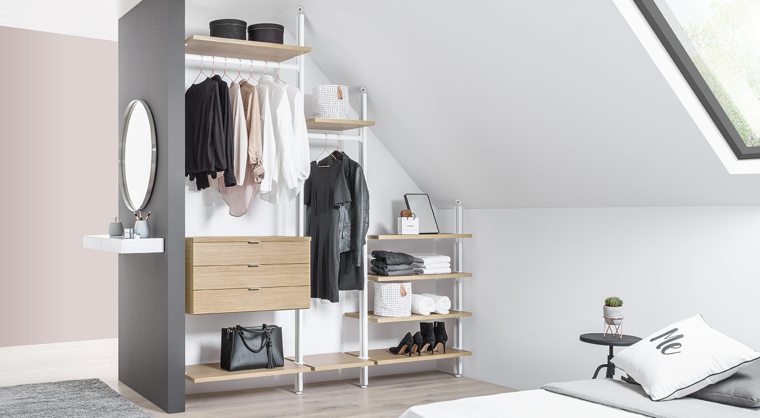 Clothes rack - CLOS-IT open wardrobe shelf under a slanted roof