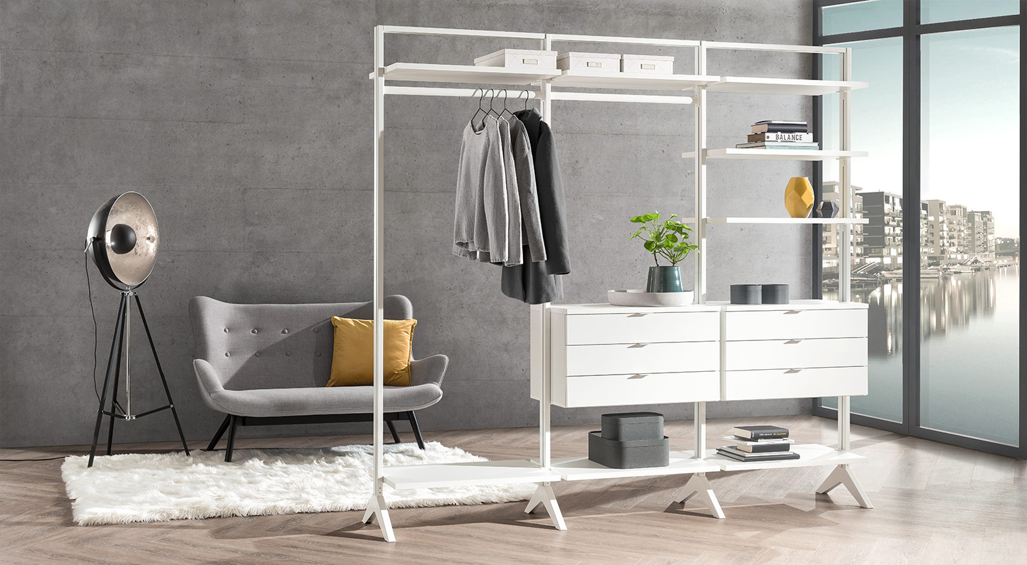 Clothes rack - free-standing as room divider shelf