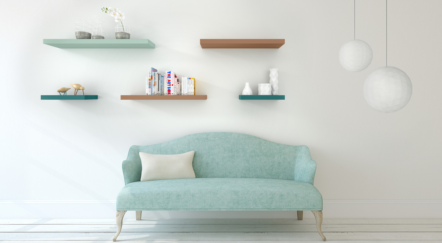Bespoke Floating Shelves - BOY color deep-green, copper-brown and mint-green