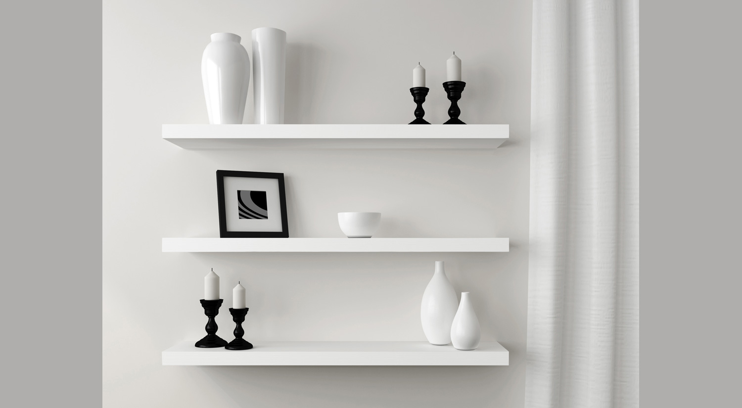 Bespoke Floating Shelves -  BOY wall shelf white in the dining room
