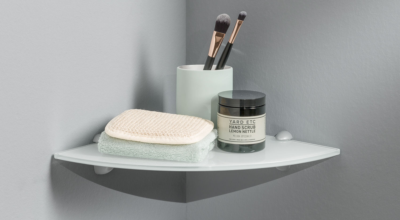 Corner Shelves - Glass shelf board white with shelf brackets JAM in the bathroom
