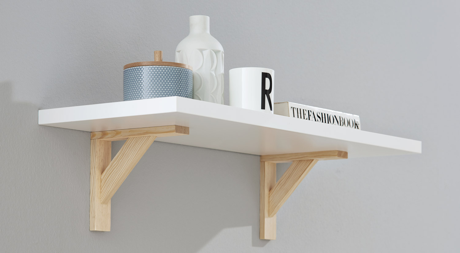 Floating shelf - BOARD+COUNTRY Scandinavian style floating shelf in white/wood