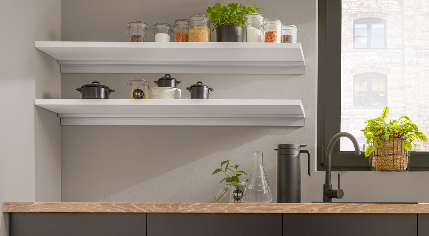floating shelves sumo cube as kitchen shelf