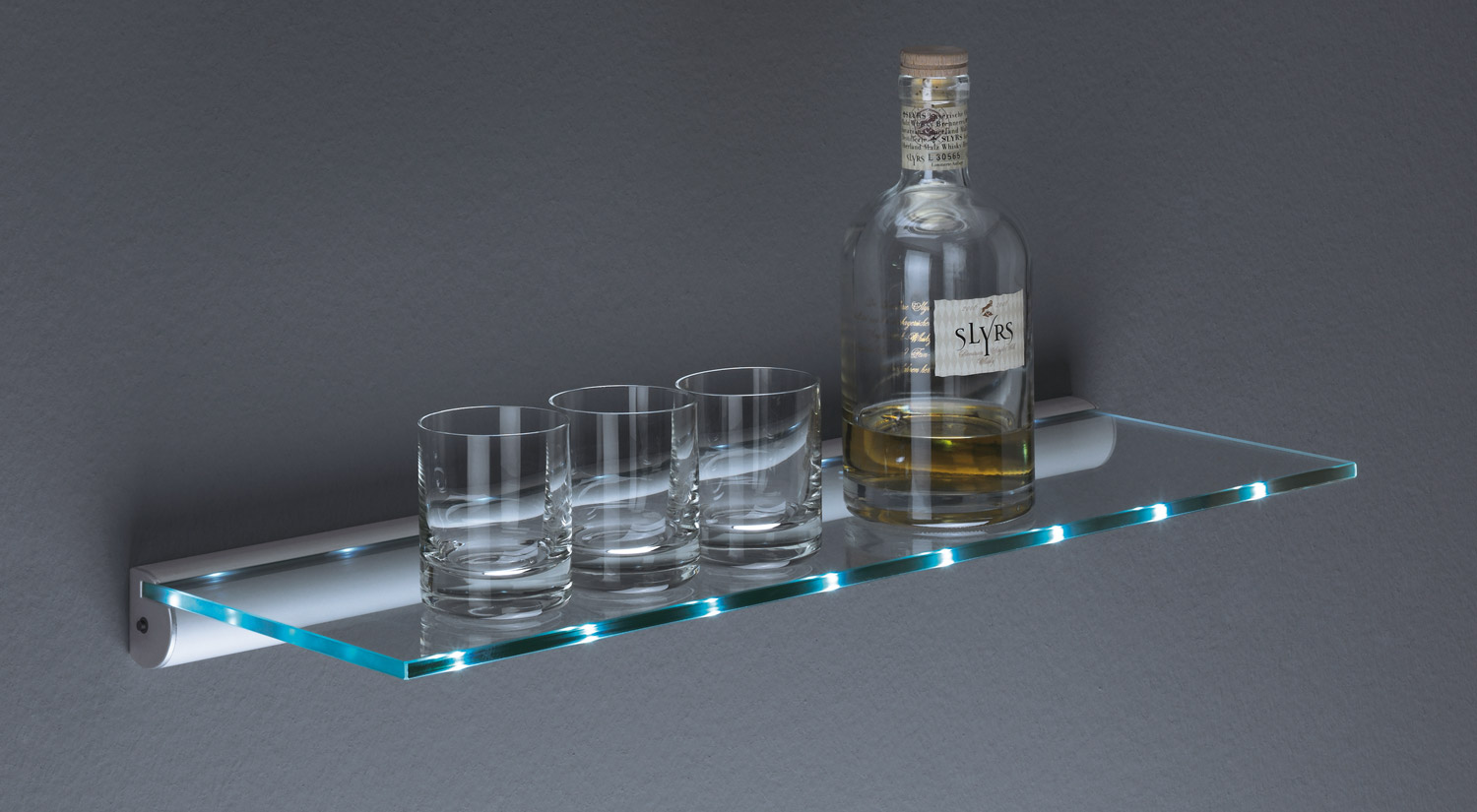 Glass shelf - LED shelf - illuminated glass shelf