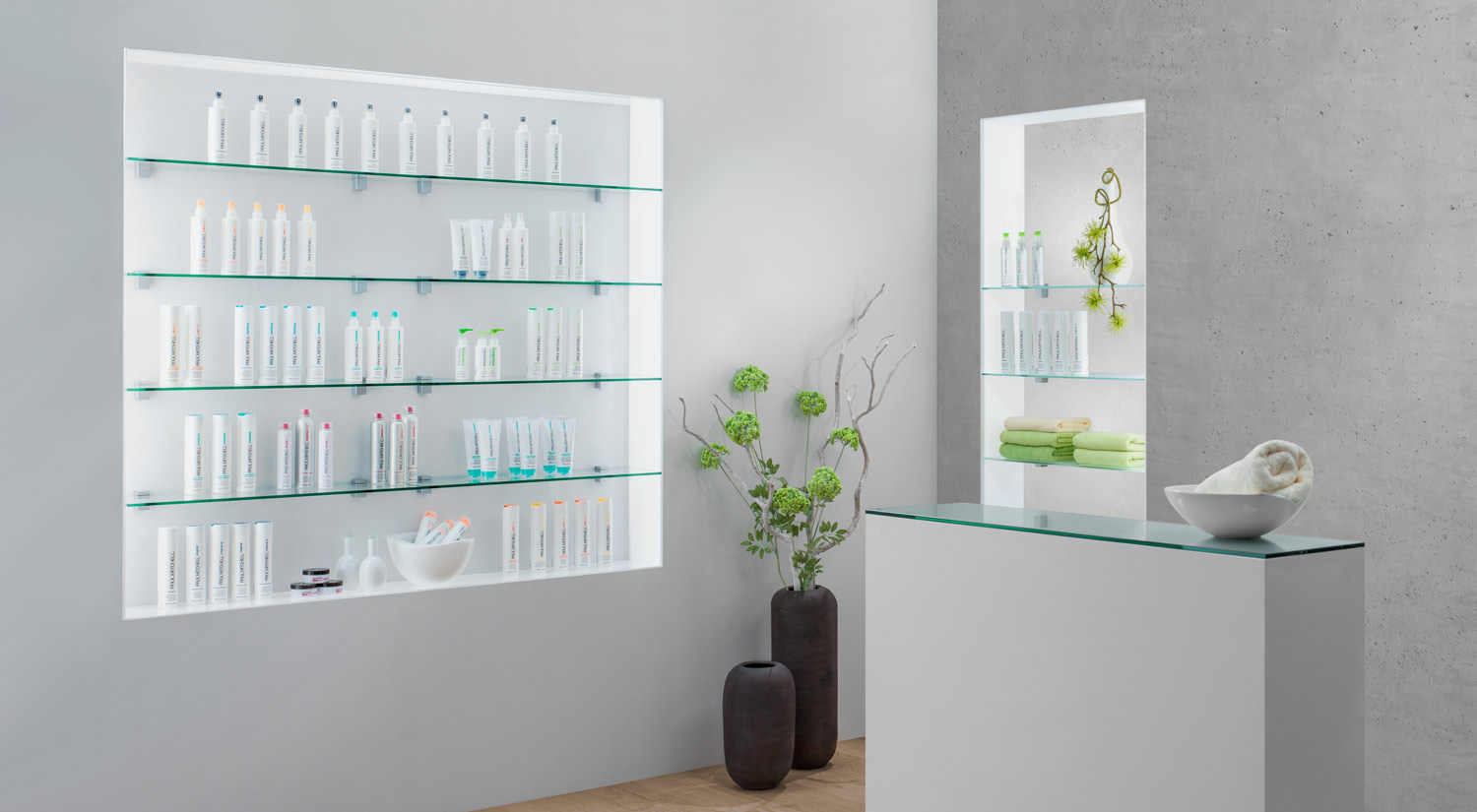 Glass shelf - SQUARE glass shelf clear and satin glass with BLOC shelf bracket for shop fittings