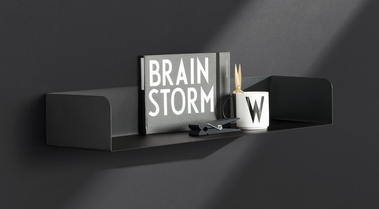 Metal Wall Shelves - SHOWCASE black as book shelf