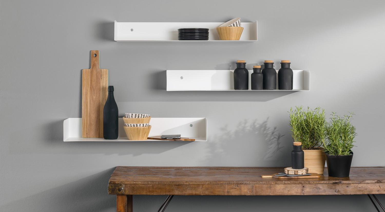 Metal Wall Shelves - SHOWCASE white as kitchen shelf
