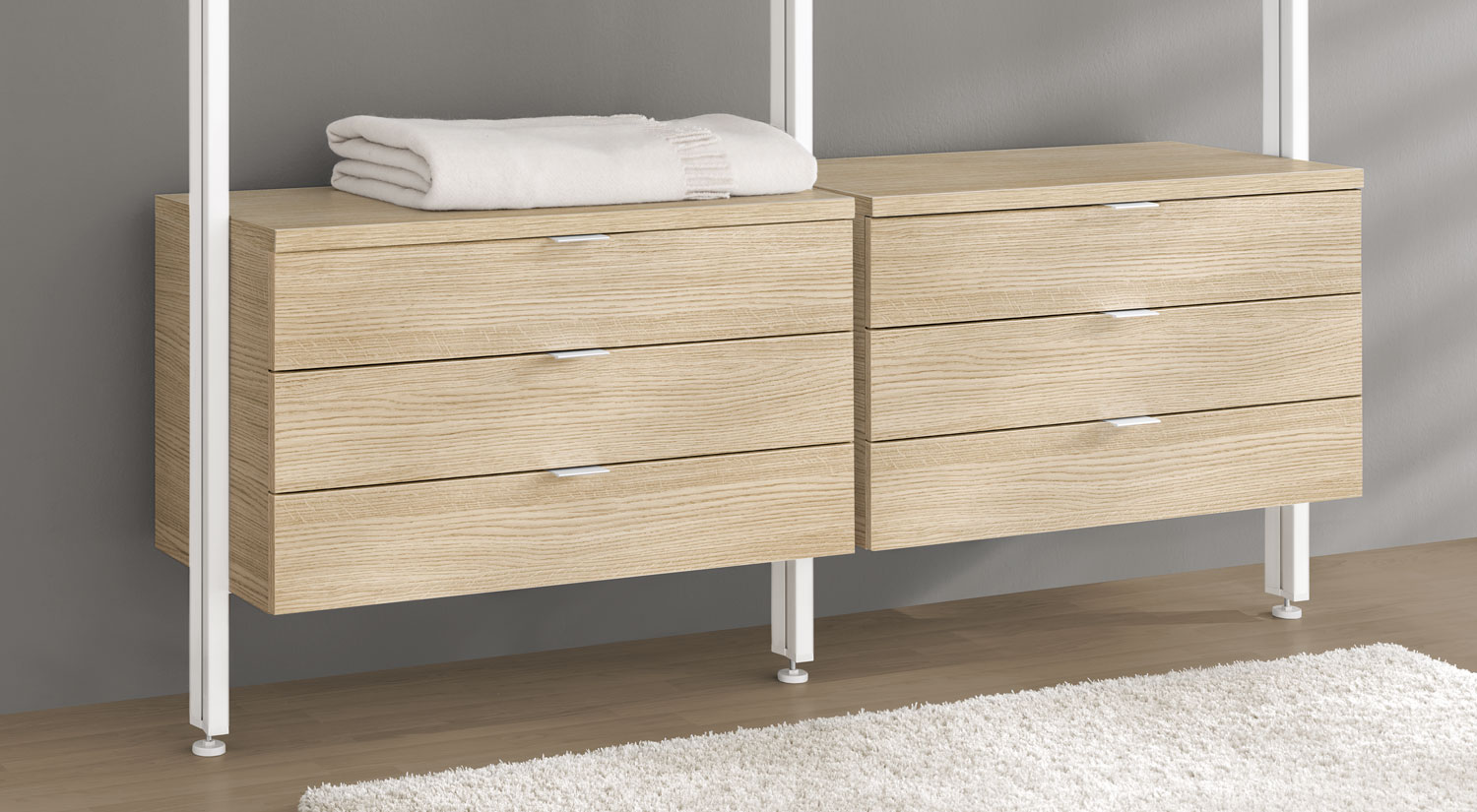 Shelves with Drawer - Drawer Units with drawer holder white in the CLOS-IT shelving system dressing room oak