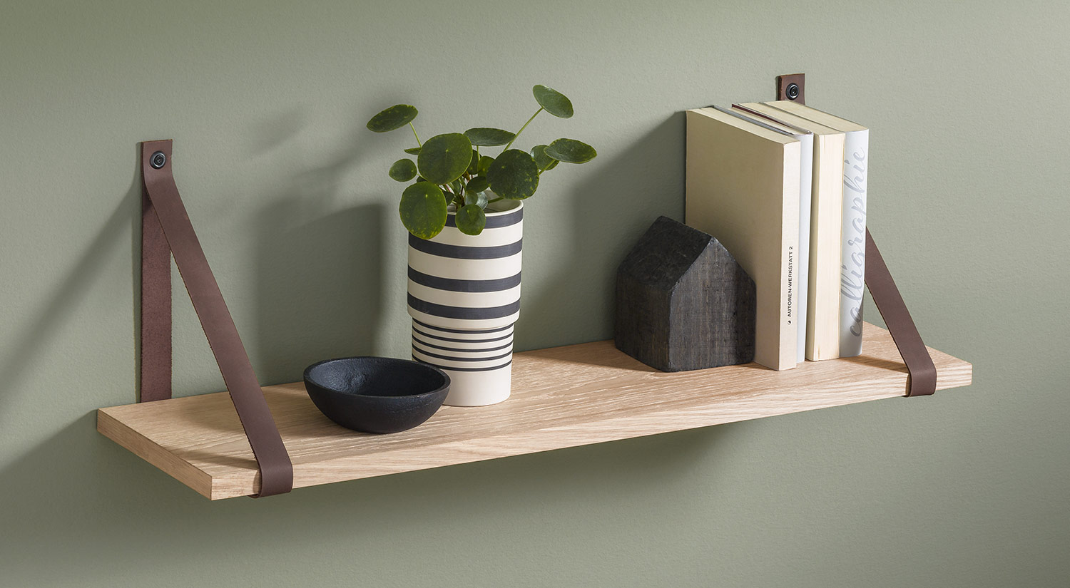 Wooden Wall Shelves - VINTAGE+LOOP Leather Strap Hanging Shelf