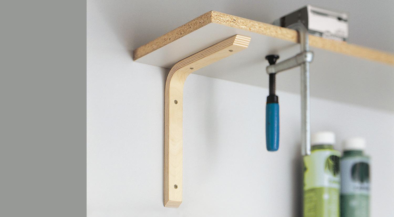 Équerre bois - THOR en contreplaqué naturel avec tablette comme planche de rangement