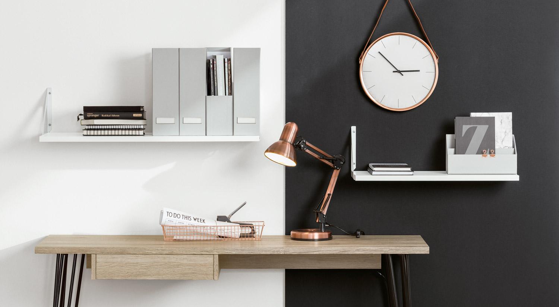 Équerre métal - TRI métal avec étagère blanche au bureau