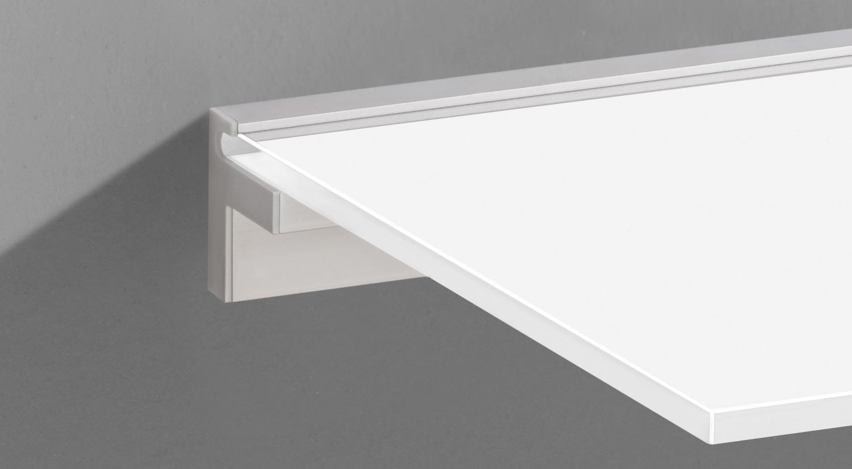 Support étagère - CUBE-10 Porte-étagère en verre avec tablette en verre blanc