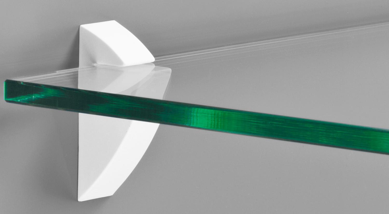 Support étagère - Support d´étagère en verre CLIP-8 blanc