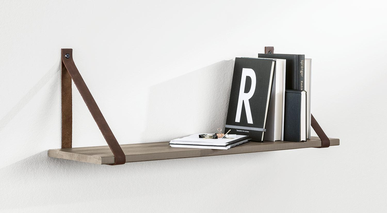Planche étagère - VINTAGE avec lanières en cuir LOOP comme étagères suspendues