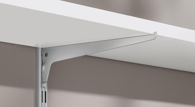 Planche sur mesure - blanc avec équerre étagère - Système d'étagères P-SLOT