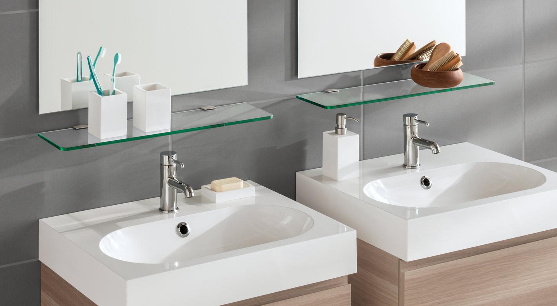 Tablettes en verre - ROUND avec support d´étagère en verre FLAC dans la salle de bain