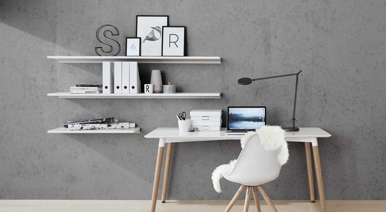 Étagère murale blanche - BOARD+RAIL au bureau