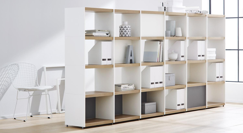 Meuble de séparation étagères - Meuble de séparation étagère YOMO en chêne/blanc