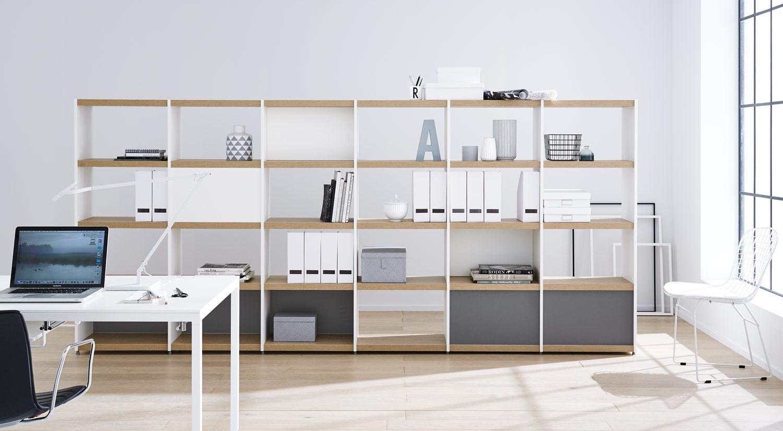 Étagère bureau - Étagère YOMO en blanc/chêne massif comme étagère à classeur