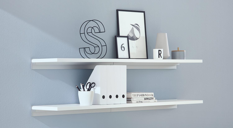 Regalböden - SUMO weiß mit Wandschiene CUBE für Büro
