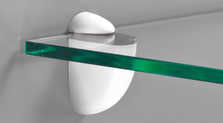 Regalhalter - JAM weiß mit Glasboden