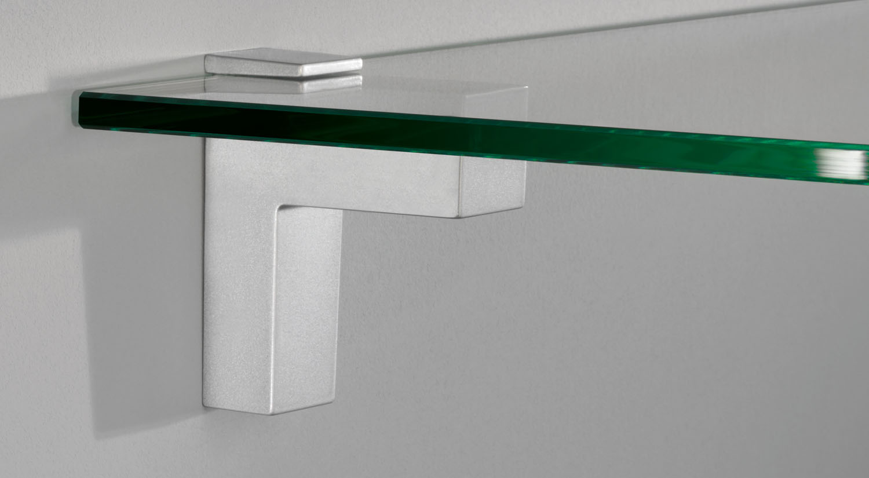 Regalträger - ELIOT Glasbodenträger silber mit Glasboden