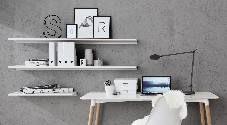 Regal weiß - Wandregale Büro Regalboden nach Maß weiß mit Regalbodenträger RAIL