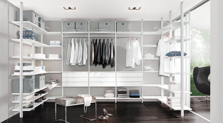 Schranksysteme - CLOS-IT Regalsystem Ankleidezimmer mit Schubladen und Kleiderstangen