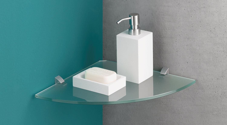 ECK Wandregal - Eckboden Glas mit Regalträger CLIP im Badezimmer
