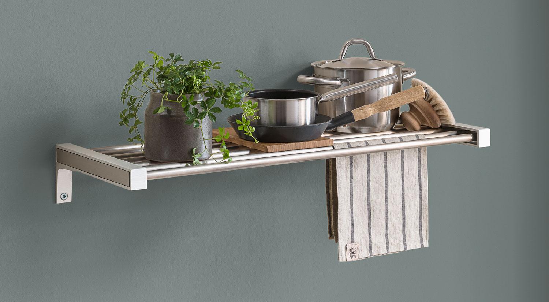 Wandregal aus Stahl Küchenregal Edelstahl, wandregal