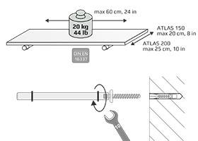 ATLAS Tablarträger 2 Stck | schwarz, chrom, silber