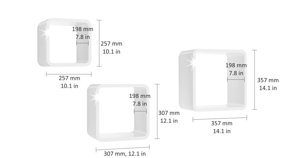 LONGCUBE Würfelregal Set weiß hochglanz |